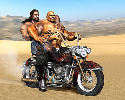 Gay Biker Art Motorcycle Bear Pride Bodybuilder Skinhead Nude Naked Male Painting Vykkurt Art Print