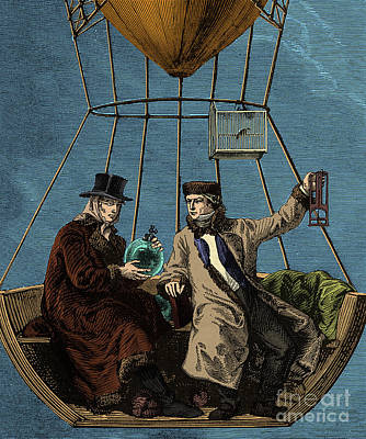 Gay-lussac And Biot In Hot Air Balloon Art Print by Science Source