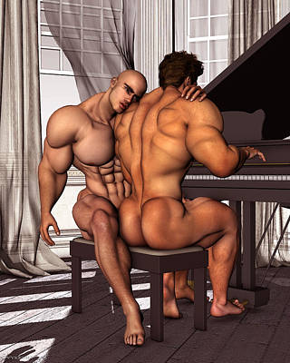 Gay Pianist Piano Art Digital Painting Musician Music Print Naked Bodybuilder Nude Male Art Print