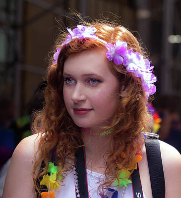 Photograph - Gay Pride 2017 Nyc Female Marcher Flowered Head Band by Robert Ullmann