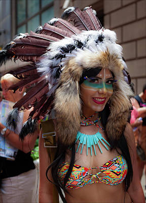 Photograph - Gay Pride 2017 Nyc Native American Costume by Robert Ullmann