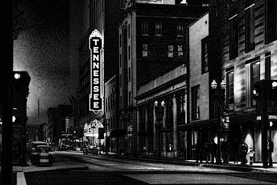 Photograph - Gay Street Night Scene Black And White by Sharon Popek