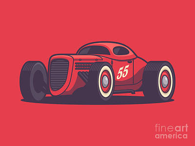 Hot Rod Wall Art - Digital Art - Gaz Gl1 Custom Vintage Hot Rod Classic Street Racer Car - Red by Ivan Krpan