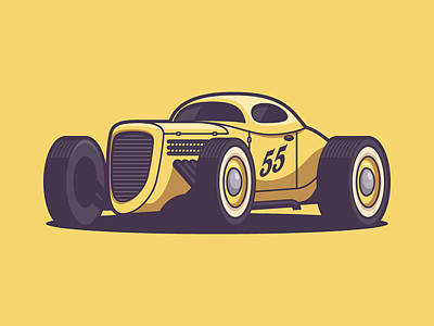 Hot Rod Wall Art - Digital Art - Gaz Gl1 Custom Vintage Hot Rod Classic Street Racer Car - Yellow by Ivan Krpan