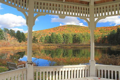 Photograph - Gazebo And Fall Foliage Rowe Massachusetts Berkshires by John Burk