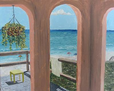 Gazebo At Blue Mountain Beach Art Print by John Terry