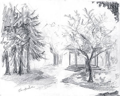Drawing - Gazebo by Brandy Woods