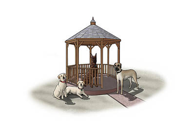 Yellow Lab Digital Art - Gazebo Dogs by Douglas Mahoney
