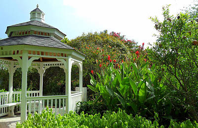 Gazebo Flower Garden Print by Sheri McLeroy