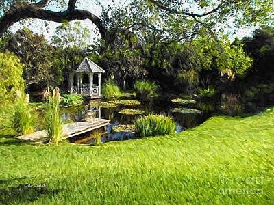 Lilly Pond Mixed Media - Gazebo On Pond by Garland Johnson
