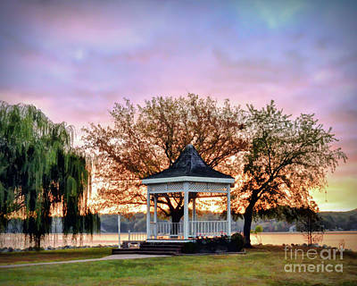 Art Print featuring the photograph Gazebo Sunrise At Claytor Lake by Kerri Farley