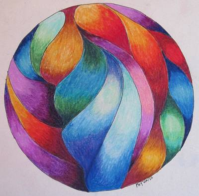 Colored Pencil Abstract Drawing - Gazing Ball 2 by Megan Walsh