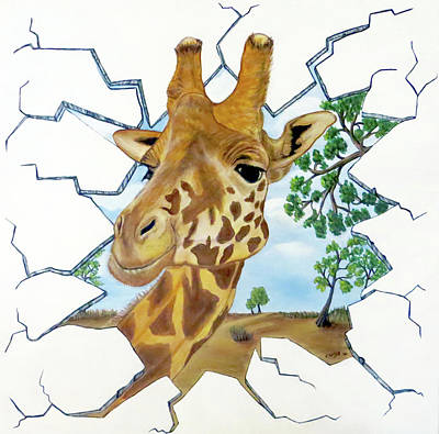 Art Print featuring the painting Gazing Giraffe by Teresa Wing