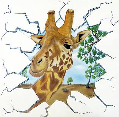 Painting - Gazing Giraffe by Teresa Wing