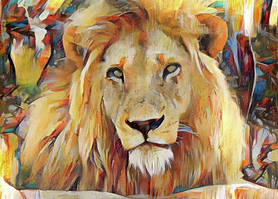 Photograph - Gazing Lion by Gini Moore