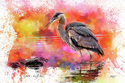 John Williams Digital Art - Great Blue  Heron  Early Bird by John Williams