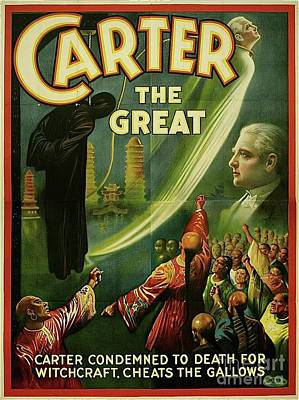 Fantasy Royalty-Free and Rights-Managed Images - Carter The Great, Vintage Magician poster by Esoterica Art Agency