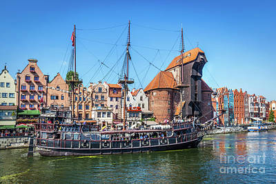 Photograph - Gdansk Old Town And Famous Crane, Polish Zuraw. Motlawa River In Poland. by Michal Bednarek