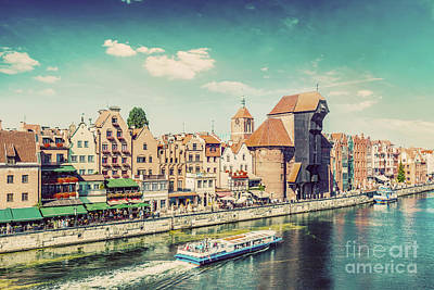 Photograph - Gdansk Old Town And Famous Crane, Polish Zuraw. Motlawa River In Poland. Vintage by Michal Bednarek