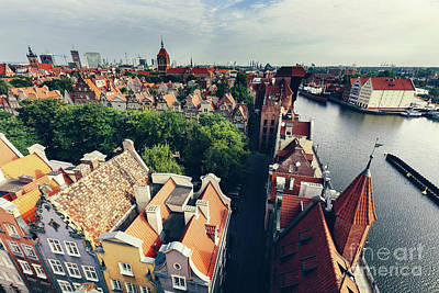Photograph - Gdansk Old Town And Motlawa Seen From The Top Of Tower. by Michal Bednarek