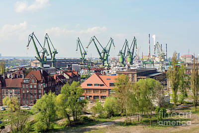 Photograph - Gdansk, Poland, May 14, 2018 A View Of Gdansk Shipyard And The  by Michal Bednarek