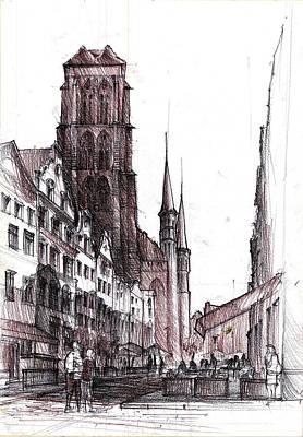 Medieval Temple Drawing - Gdansk Saint Mary's Church by Krystian  Wozniak