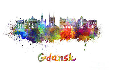 Poland Painting - Gdansk Skyline In Watercolor by Pablo Romero