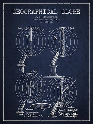 Marquette Drawing - Geaographical Globe Patent From 1900 - Navy Blue by Aged Pixel