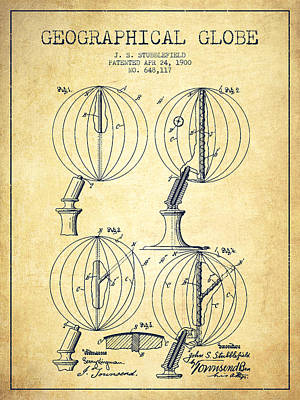 Marquette Drawing - Geaographical Globe Patent From 1900 - Vintage by Aged Pixel