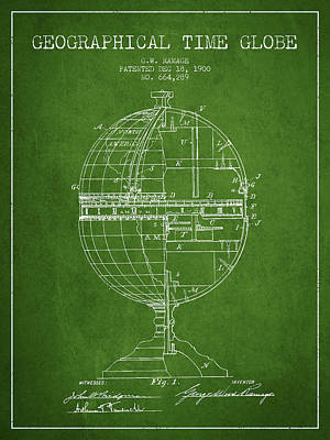 Stanford Drawing - Geaographical Time Globe Patent From 1900 - Green by Aged Pixel