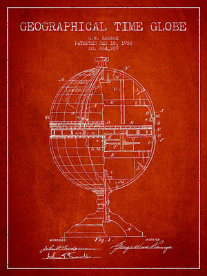 Marquette Drawing - Geaographical Time Globe Patent From 1900 - Red by Aged Pixel