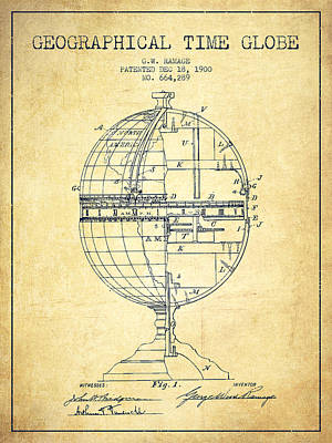 Marquette Drawing - Geaographical Time Globe Patent From 1900 - Vintage by Aged Pixel