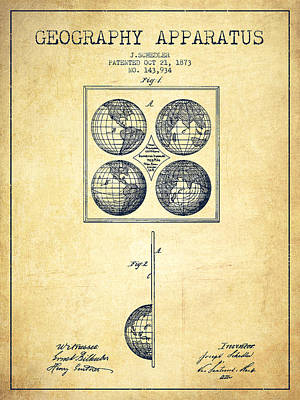 Europe Drawing - Geaography Apparatus Patent From 1873 - Vintage by Aged Pixel