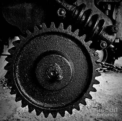 Photograph - Gear And Screw Bw 2 by Chalet Roome-Rigdon