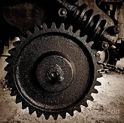 Photograph - Gear And Screw Sepia 2 by Chalet Roome-Rigdon