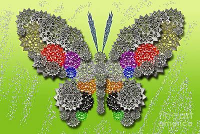 Digital Art - Gear Butterfly Colorful by Afrodita Ellerman