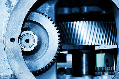 Iron Photograph - Gear Machine Industrial Elements Close-up by Michal Bednarek