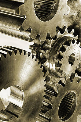 Gears And Cogwheels In Antique Look Art Print by Christian Lagereek