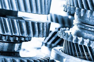 Mechanics Photograph - Gears, Grunge Cogwheels, Real Engine Elements Close-up. Heavy Industry by Michal Bednarek