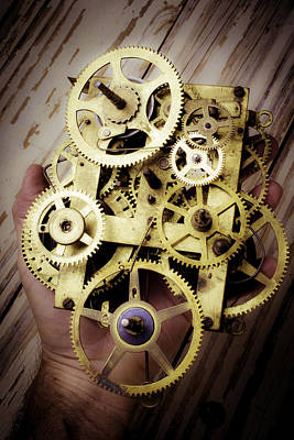 Gear Photograph - Gears Held By Hand by Garry Gay