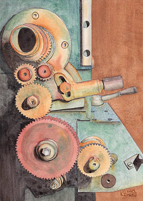 Watercolor Painting - Gears by Ken Powers