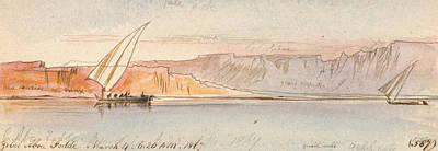 Drawing - Gebel Abu Fodde by Edward Lear