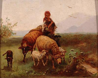 Gebler Otto Shepherdess Art Print by Friedrich Otto Gebler