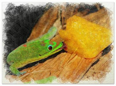 Mixed Media - Gecko Enjoying Peaches by Pamela Walton