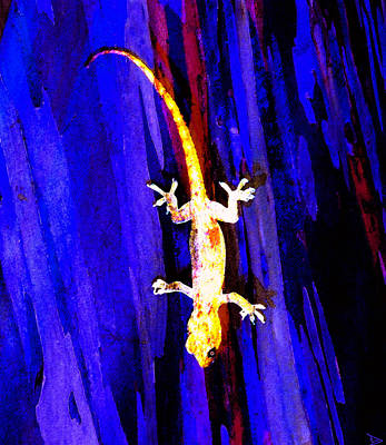 Painting - Gecko On Blue by David Lee Thompson