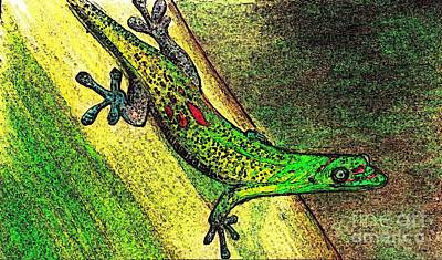 Digital Art - Gecko On The Green by Theresa Willingham