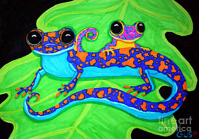 Salamanders Drawing - Geckos by Nick Gustafson