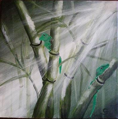 Reptiles Painting - Geckos On The Bamboos by Judit Szalanczi