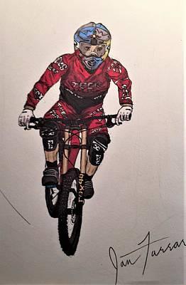 Mountain Biking Drawing - Gee by Ian Farrar