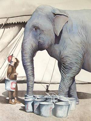 Vintage Circus Painting - Gee Whiz II by Greg and Linda Halom